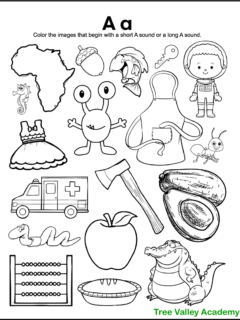 A free printable letter A sound coloring worksheet for kindergarten. The black and white printable has 18 images. 9 of the images begin with a short A sound, and 3 of the images begin with a long A sound. Kids need to color the images whose initial sound is a short A vowel sound or a long A vowel sound.