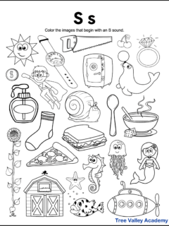 A free printable letter S beginning sound worksheet for kindergarten students. The letter S phonics coloring page has 24 images. 15 objects are letter S pictures for kids to color.