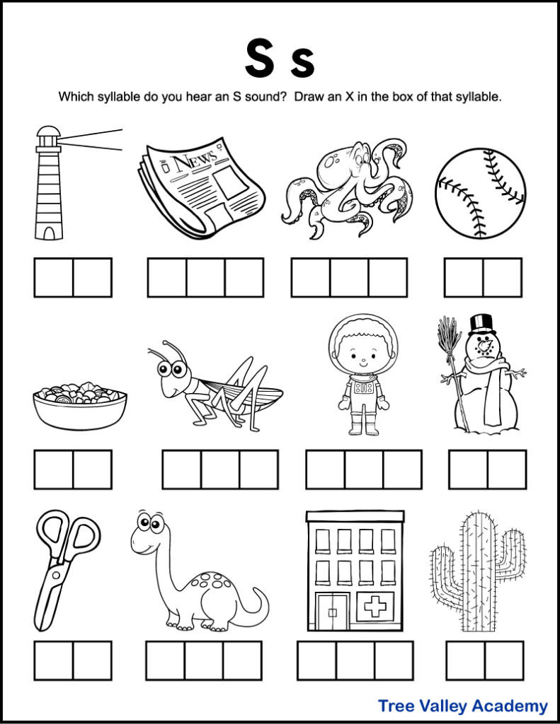 A free printable letter s sound worksheet perfect for 1st grade students. There's 12 black and white images of items and kids need to sound each word out, and identify which syllables contain an S sound. Kids will mark an X in the box representing that syllable. Free downloadable pdf includes answer page.