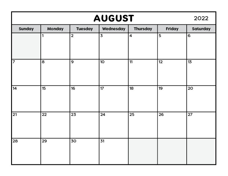 a full page black and white printable calendar for the month of August 2022