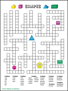A one page free printable geometry shapes fill in word puzzle. The puzzle has 33 geometric shape words to fit in the puzzle. The downloadable pdf has 2 versions to choose from: black and white or color. Answers included.