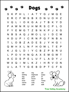 A black and white printable dog word search for kids. There are 21 dog themed words hidden in a 14 X 14 large print grid of letters. The words range from 1st to 3rd grade spelling words. The puzzle is decorated with 2 cute dogs that kids can color. A boy dog with a bone in his mouth, and a girl dog with a bow in her hair.
