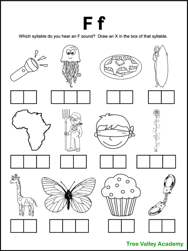 A free printable letter f sound worksheet perfect for 1st grade students. There's 12 black and white images of items and kids need to sound each word out, and identify which syllables contain an F sound. Kids will mark an X in the box representing that syllable. Free downloadable pdf includes answer page.