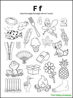 A free printable letter F beginning sound worksheet for kindergarten students. The letter F coloring page has 24 images. 15 items are letter F pictures for kids to color.